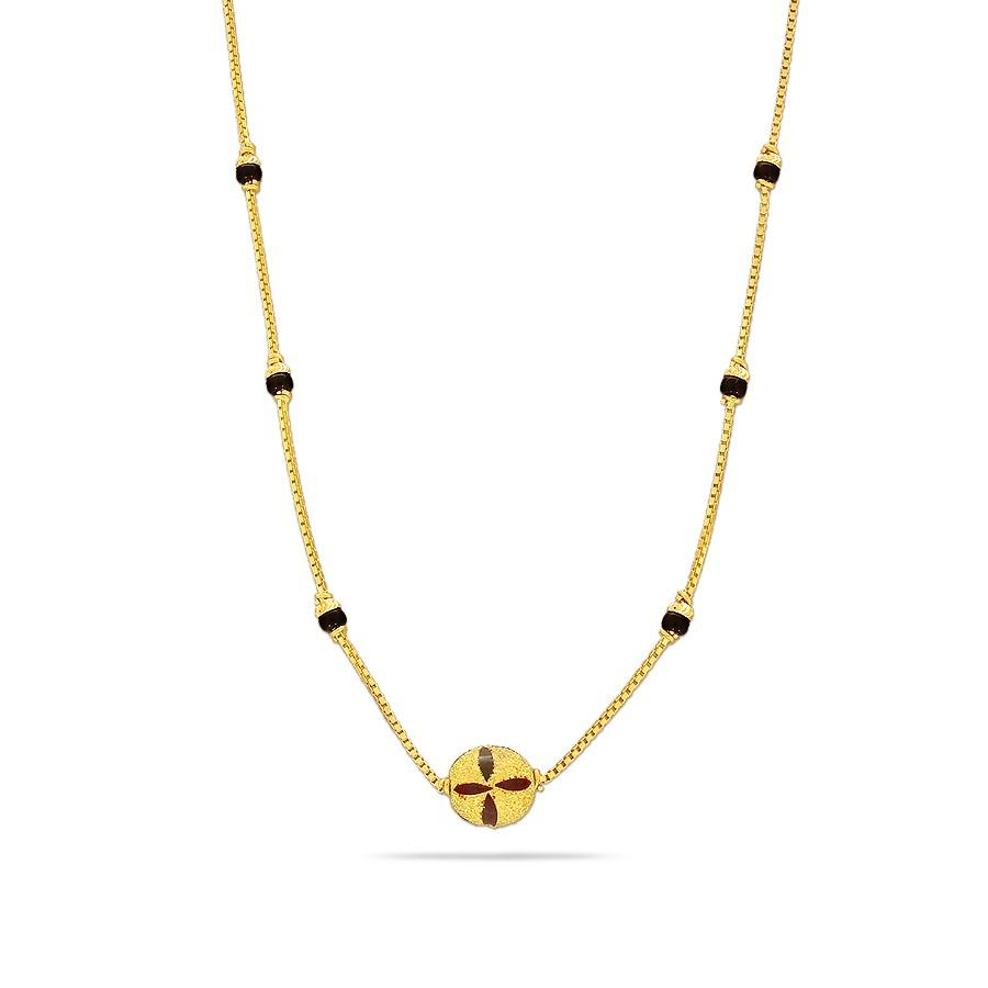 black beads chain gold
