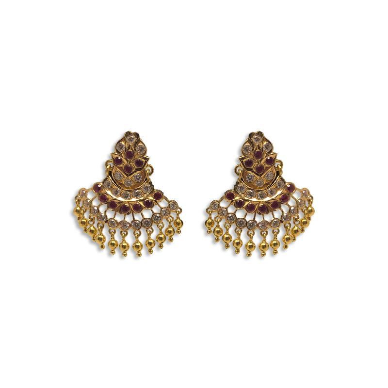 KUNDAN CHAND BALI EARRINGS
