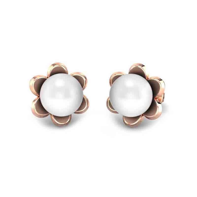 Pearl rose gold earrings