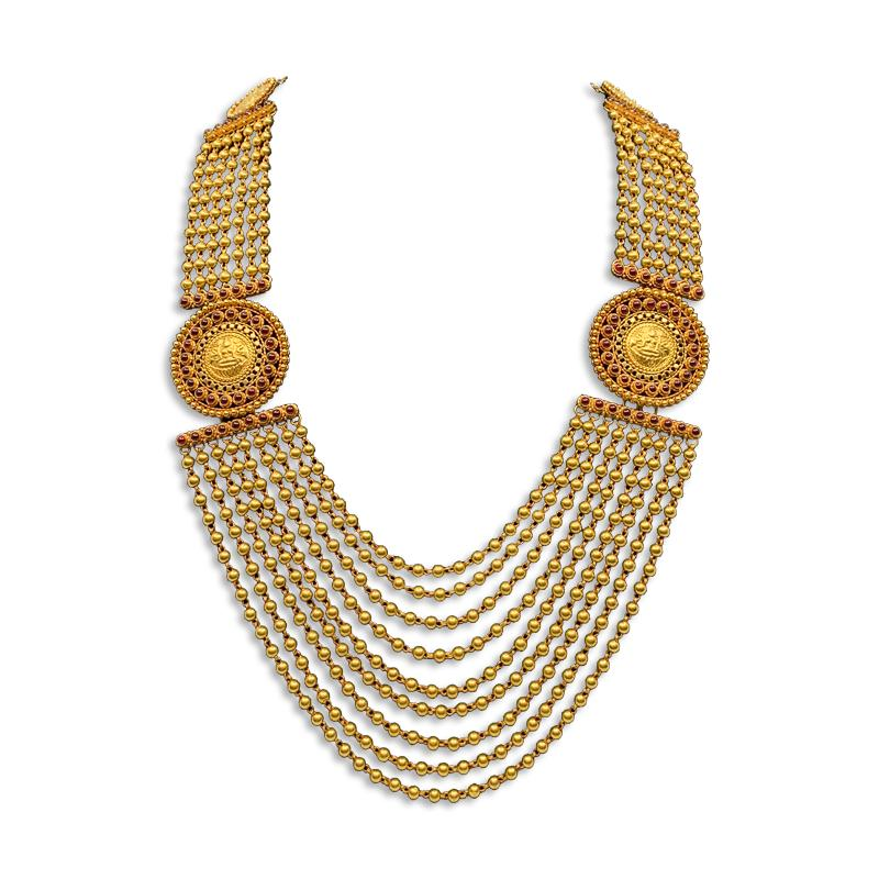 GOLD GUNDU DESIGN NECKLACE