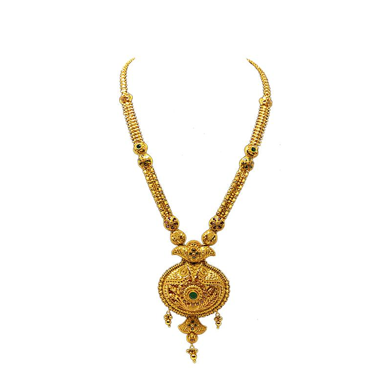 Gold Long Necklace Designs In 50 Grams